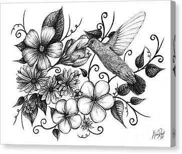 Hummingbird And Floral Sketch Canvas Print