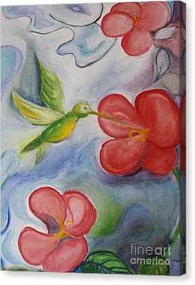 Hummingbird And Hibiscus Canvas Print by Teresa Hutto