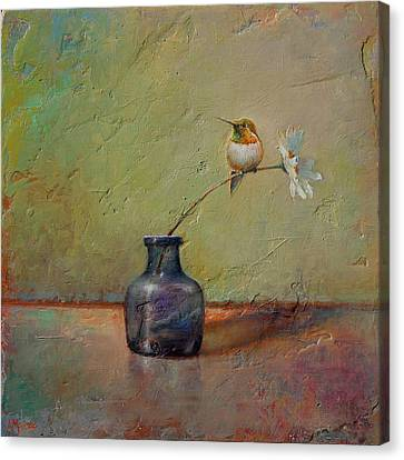 Hummingbird And White Daisy Canvas Print