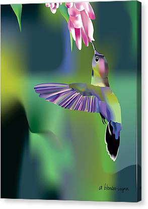 Canvas Print featuring the digital art Hummingbird by Arline Wagner