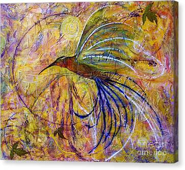 Canvas Print featuring the painting Hummingbird Don't Fly Away by Jane Chesnut