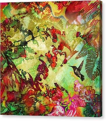 Hummingbird In Flower Heaven - Square Canvas Print