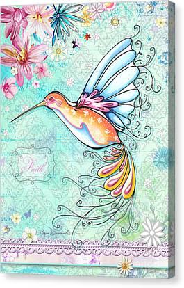Hummingbird Inspirational Floral Painting Art Quote Faith By Megan Duncanson Canvas Print by Megan Duncanson