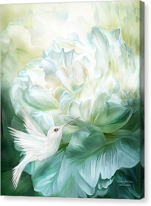 Canvas Print featuring the mixed media Hummingbird Kiss by Carol Cavalaris