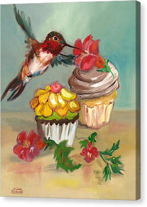 Canvas Print featuring the painting hummingbird with 2 Cupcakes by Susan Thomas