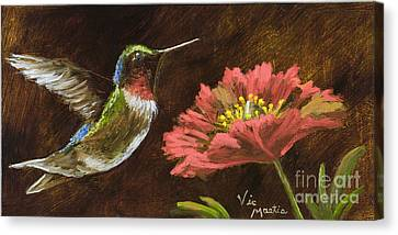 Hummingbird With Gold Leaf By Vic Mastis Canvas Print by Vic  Mastis