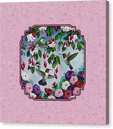 Hummingbirds And Flowers Pink Pillow And Duvet Cover Canvas Print