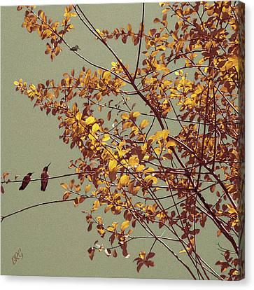 Hummingbirds On Yellow Tree Canvas Print
