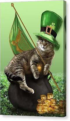Clover Canvas Print -  St. Patrick's Day Irish Cat Sitting On A Pot Of Gold by Regina Femrite