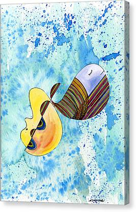 Canvas Print featuring the painting Humpback Whale In Harmony by Mukta Gupta