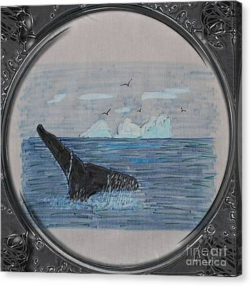 Humpback Whale Tail And Icebergs - Porthole Vignette Canvas Print by Barbara Griffin