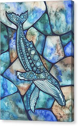 Stained Glass Canvas Print - Humpback Whale by Tamara Phillips