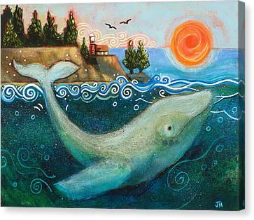 Humpback Whales In Santa Cruz Canvas Print by Jen Norton