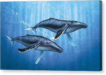 Humpback Whales Canvas Print by JQ Licensing