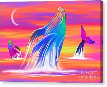 Humpback Whales Sunset Canvas Print
