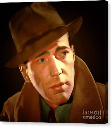 Sam Spade Canvas Print - Humphrey Bogart 20150307 Square by Wingsdomain Art and Photography