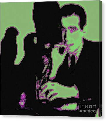 Sam Spade Canvas Print - Humphrey Bogart And The Maltese Falcon 20130323 Square by Wingsdomain Art and Photography