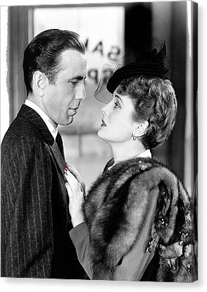 Sam Spade Canvas Print - Humphrey Bogart As Sam Spade With Mary Astor The Maltese Falcon Publicity Photo 1940-2013 by David Lee Guss