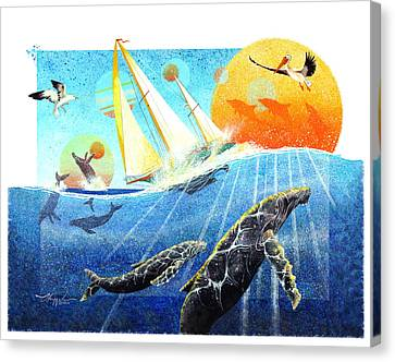 Humps In The Sea Canvas Print by David  Chapple