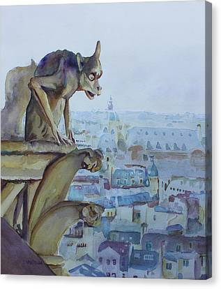 Rooftop Canvas Print - Hunchbacked Gargoyle by Jenny Armitage