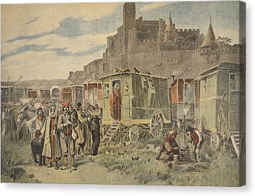 Gypsy Canvas Print - Hungarian Gypsies Outside Carcassonne by French School