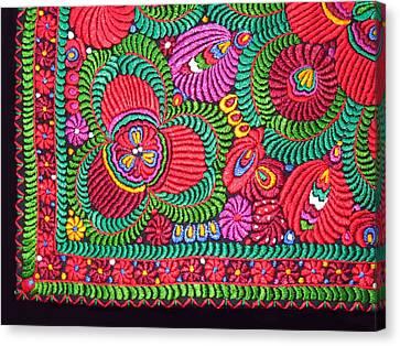 Hungarian Magyar Matyo Folk Embroidery  Canvas Print by Andrea Lazar