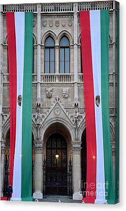 Hungary Flag Hanging At Parliament Budapest Canvas Print