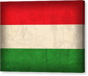 Hungary Flag Vintage Distressed Finish Canvas Print by Design Turnpike