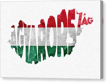 Hungary Typographic Map Flag Canvas Print by Ayse Deniz