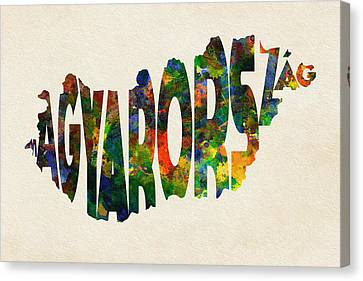 Hungary Typographic Watercolor Map Canvas Print by Ayse Deniz