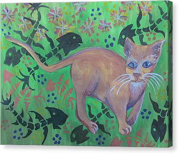 Hungry Cat Canvas Print by Cherie Sexsmith