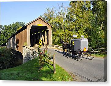 Hunseckers Mill Covered Bridge Canvas Print by Dan Myers