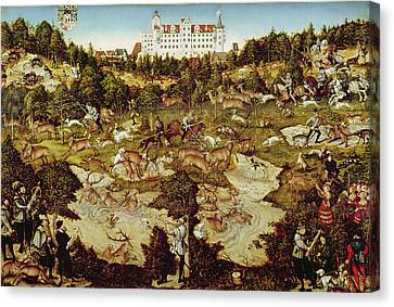 Hunt In Honour Of The Emperor Charles V Near Hartenfels Castle, Torgau, 1544 Oil On Panel See Canvas Print