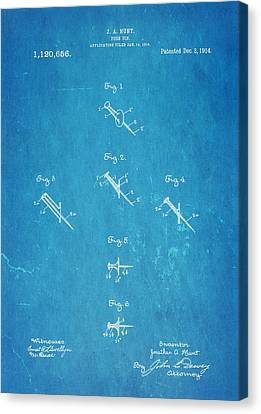 Hunt Push Pin Patent Art 1914 Blueprint Canvas Print by Ian Monk