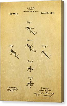 Quilter Canvas Print - Hunt Push Pin Patent Art 1914 by Ian Monk