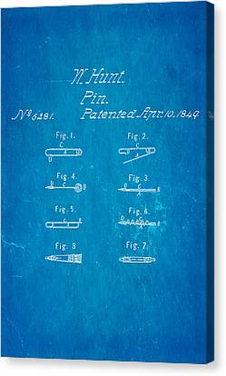 Quilter Canvas Print - Hunt Safety Pin Patent Art 1849 Blueprint by Ian Monk