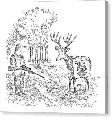 Hunter Holding A Rifle Looks Peevishly At A Deer Canvas Print