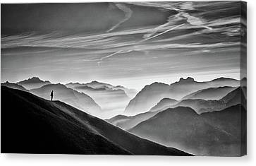 Hunter In The Fog Bw Canvas Print