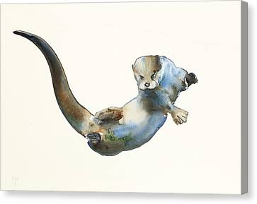 Otter Canvas Print - Hunter by Mark Adlington