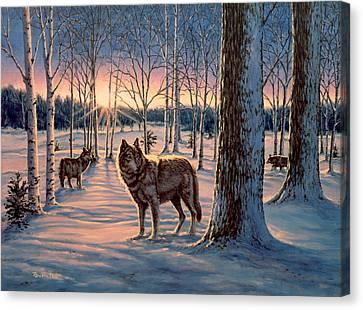 Hunters At Twilight Canvas Print