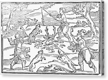Hunters Feeding Dogs, 1582 Canvas Print by Granger