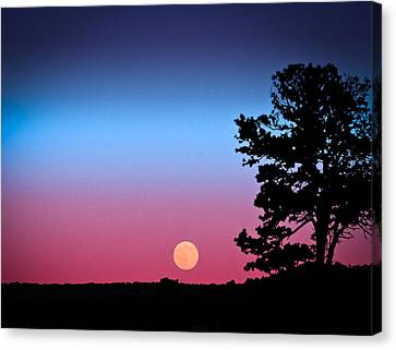 Canvas Print featuring the photograph Hunter's Moonrise In Eastern Arizona by John Haldane