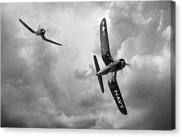 Vintage Airplane Canvas Print - Hunters by Peter Chilelli