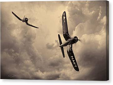 Hunters - Sepia Canvas Print by Peter Chilelli