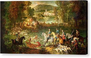 Hunting At The Saint-jean Pond In The Forest Of Compiegne, Before 1734 Oil On Canvas Canvas Print