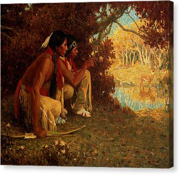 Hunting For Deer Canvas Print by Eanger Irving Couse