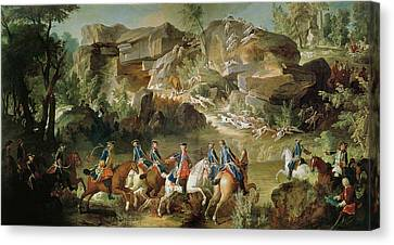 Tapestries - Textiles Canvas Print - Hunting In The Forest Of Fontainebleau At Franchard Oil On Canvas by Jean-Baptiste Oudry