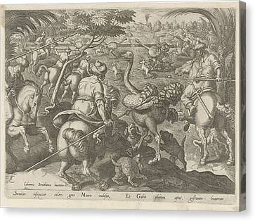 Hunting Ostriches, Philips Galle Canvas Print by Philips Galle