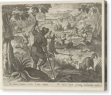 Hunting Otters, Philips Galle Canvas Print by Philips Galle