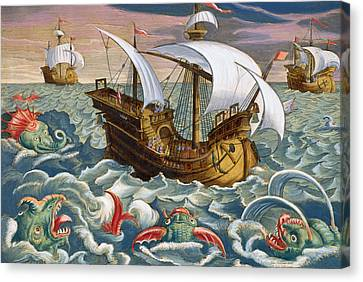 Hunting Sea Creatures Canvas Print by Jan Collaert